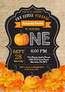 Pumpkin First Birthday Invitation Orange Burlap