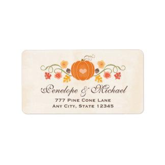 Pumpkin Floral Acorn Wedding Address Label