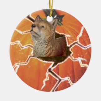 Pumpkin Fox Christmas Ornament