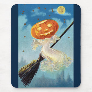 Pumpkin Ghost Witch Mouse Pad