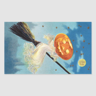 Pumpkin Ghost Witch Rectangular Sticker