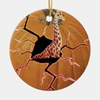 Pumpkin Giraffe Christmas Ornament