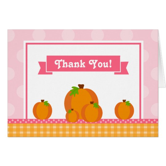 Pumpkin Girl Thank You Card Folded Note Card