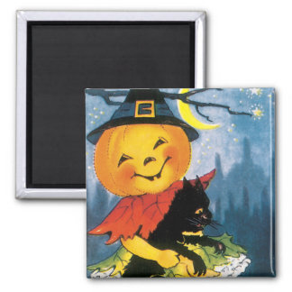 Pumpkin Girl with Scared Cat Refrigerator Magnet