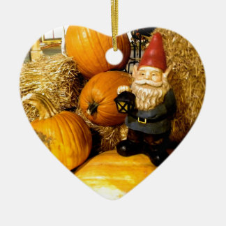 Pumpkin Gnome I Ceramic Heart Decoration