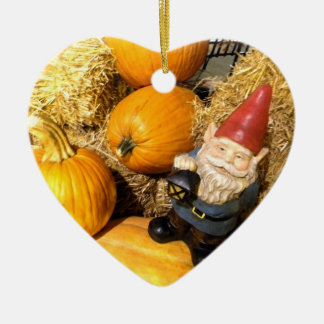 Pumpkin Gnome II Ceramic Heart Decoration