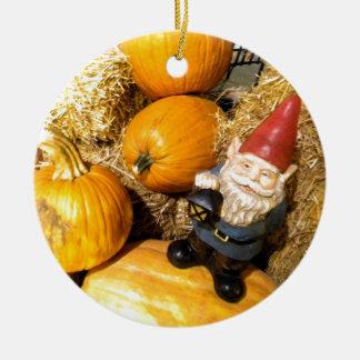 Pumpkin Gnome II Round Ceramic Decoration
