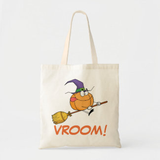 Pumpkin Goes Vroom Vroom on Witch's Broom Budget Tote Bag