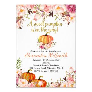 Pumpkin gold baby shower invitation