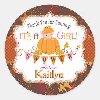 Pumpkin Gold Glitter Autumn Oak Leaves Baby Shower Round Sticker