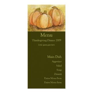 Pumpkin Harvest Menu Card Rack Card
