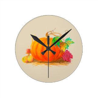 Pumpkin harvest round clock