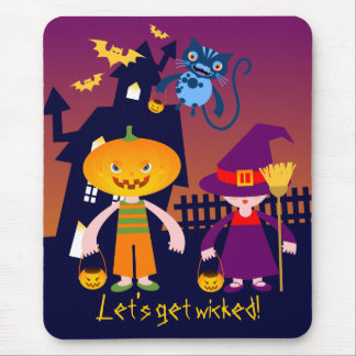 Pumpkin Head, The Witch and Her cat Mousepads
