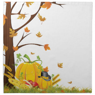 Pumpkin in a Hat Printed Napkins