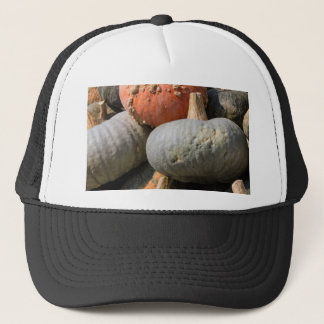 pumpkin in autumn trucker hat