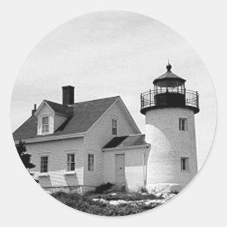Pumpkin Island Lighthouse Round Stickers