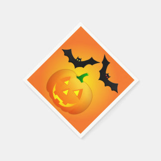 Pumpkin Jack and Bat Orange Disposable Napkin
