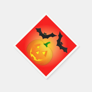 Pumpkin Jack and Bat Red Paper Napkin