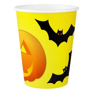 Pumpkin Jack and Bat Yellow Paper Cup