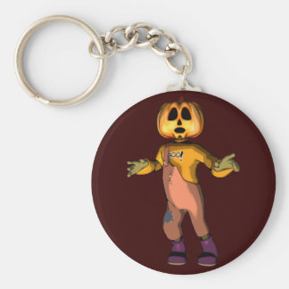 Pumpkin Jack Basic Round Button Key Ring