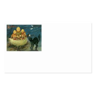 Pumpkin Jack O Lantern Black Cat Crescent Moon Pack Of Standard Business Cards