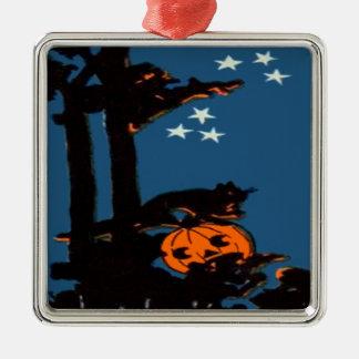 Pumpkin Jack O' Lantern Cat Orange Black Silver-Colored Square Decoration