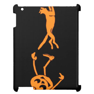 Pumpkin Jack O' Lantern Chasing Cat Orange Black Cover For The iPad