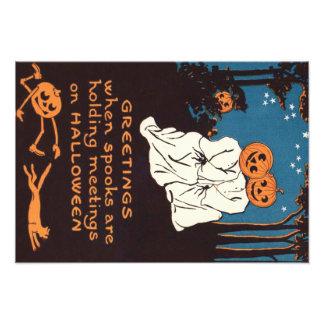 Pumpkin Jack O' Lantern Ghost Black Cat Tree Photo
