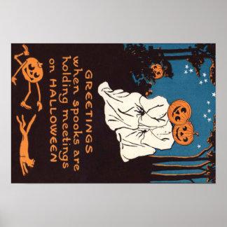 Pumpkin Jack O' Lantern Ghost Black Cat Tree Poster