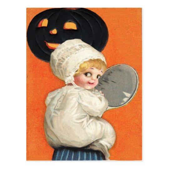 Pumpkin Jack O Lantern Girl Postcard