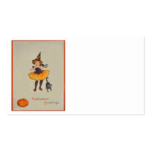 Pumpkin Jack O Lantern Witch Black Cat Business Card