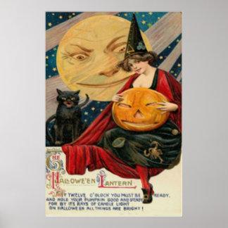 Pumpkin Jack O Lantern Witch Black Cat Poster