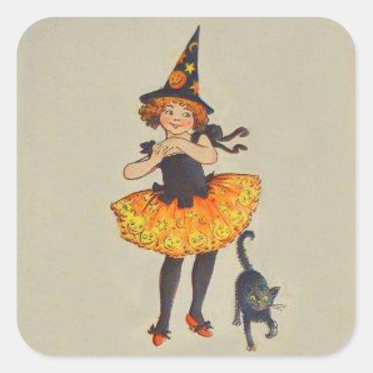 Pumpkin Jack O Lantern Witch Black Cat Square Sticker