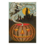 Pumpkin Jack O Lantern Witch Full Moon Poster