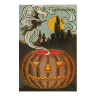 Pumpkin Jack O Lantern Witch Full Moon Poster