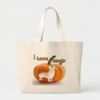 Pumpkin Love Corgis-D smile Large Tote Bag