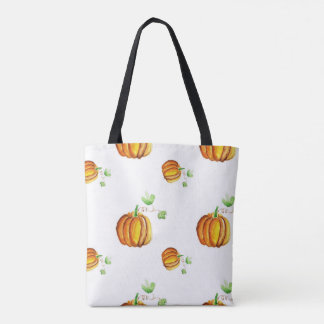 Pumpkin modern wattercolor pattern tote bag