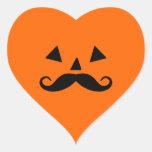 Pumpkin Moustache Heart Stickers