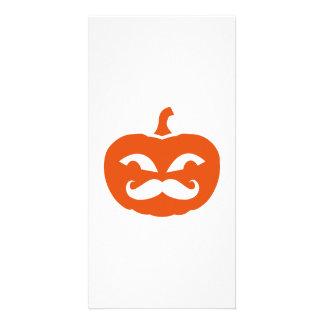 Pumpkin mustache custom photo card