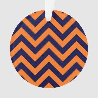 Pumpkin, Navy Blue Large Chevron ZigZag Pattern