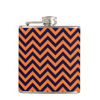 Pumpkin, Navy Blue Large Chevron ZigZag Pattern Hip Flask