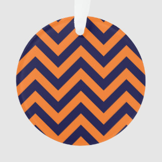Pumpkin, Navy Blue Large Chevron ZigZag Pattern Ornament