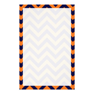 Pumpkin, Navy Blue Large Chevron ZigZag Pattern Stationery