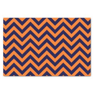 Pumpkin, Navy Blue Large Chevron ZigZag Pattern Tissue Paper