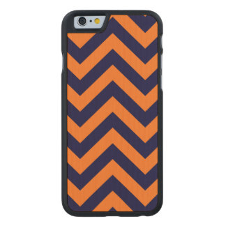 Pumpkin, Navy Blue Large Chevron ZigZag Pattern Carved® Maple iPhone 6 Case