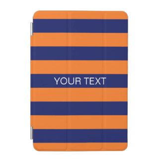 Pumpkin Navy Horiz Preppy Stripe #2 Name Monogram iPad Mini Cover