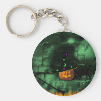 "(""Pumpkin On A Wall""* Basic Round Button Key Ring"