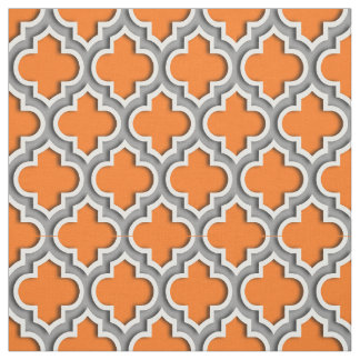 Pumpkin Orange, Dark Gray Moroccan Quatrefoil #5DS Fabric
