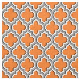 Pumpkin Orange, Dark Gray Moroccan Quatrefoil #5DS Fabric