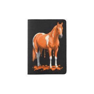 Pumpkin Orange Dripping Wet Paint Horse Passport Holder